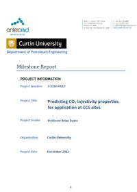 Predicting CO2 injectivity properties for application at CCS sites: milestone report