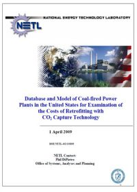Database and model of coal-fired power plants in the United States for examination of the costs of retrofitting with CO2 capture technology