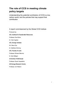 "Report led by researchers from University College London: ""The role of CCS in meeting climate policy targets"""