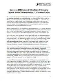 European CCS Demonstration Project Network: Opinion on the EU Commission CCS communication
