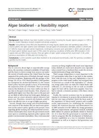 Algae biodiesel: a feasibility report