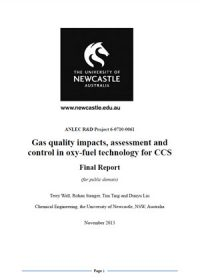 Gas quality impacts, assessment and control in oxy-fuel technology for CCS