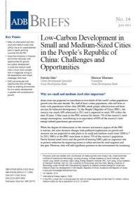 Low-carbon development in small and medium-sized cities in the People's Republic of China: challenges and opportunities