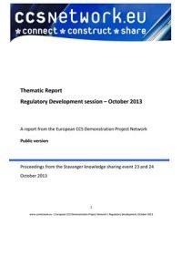 Thematic report. Regulatory development session: October 2013