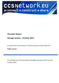 Thematic report: Storage session October 2013