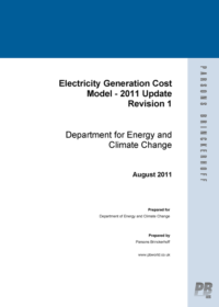 Electricity generation cost model: 2011 update revision 1