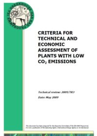 Criteria for technical and economic assessment of plants with low CO2 emissions