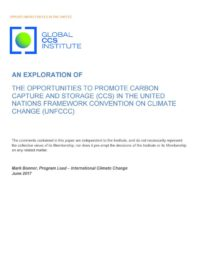 The opportunities to promote carbon capture and storage (CCS) in the United Nations Framework Convention on Climate Change (UNFCCC)
