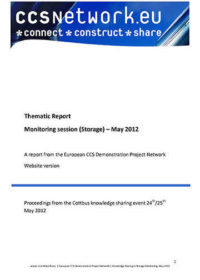 Thematic report: Monitoring session (storage) May 2012