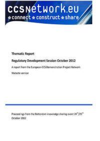 Thematic report: Regulatory development session October 2012
