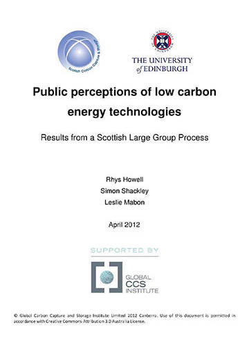 Public perceptions of low carbon energy technologies: results from a Scottish large group process