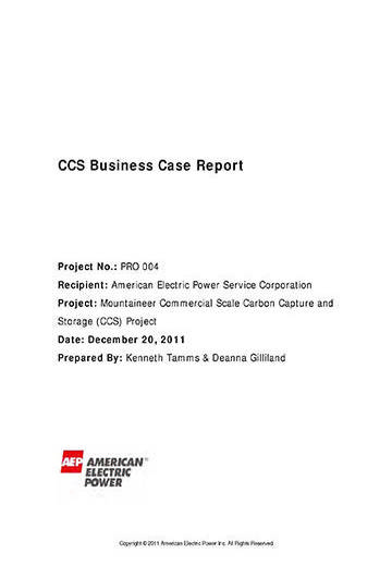 AEP Mountaineer CCS business case report
