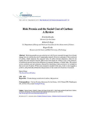 Risk premia and the social cost of carbon: a review