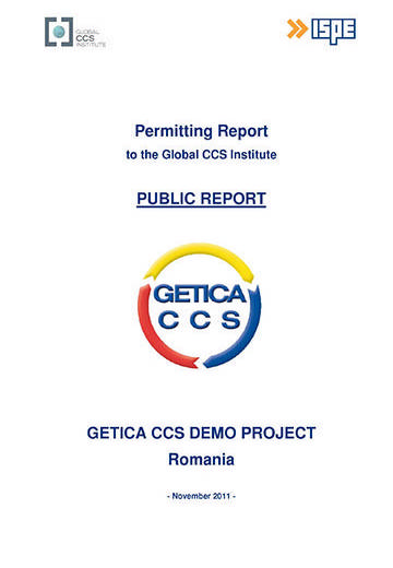 Getica CCS Demo Project Romania: permitting report to the Global CCS Institute. Public report
