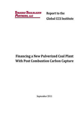 Financing a new pulverized coal plant with post combustion carbon capture