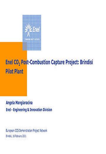 Enel CO2 post-combustion capture project: Brindisi pilot plant