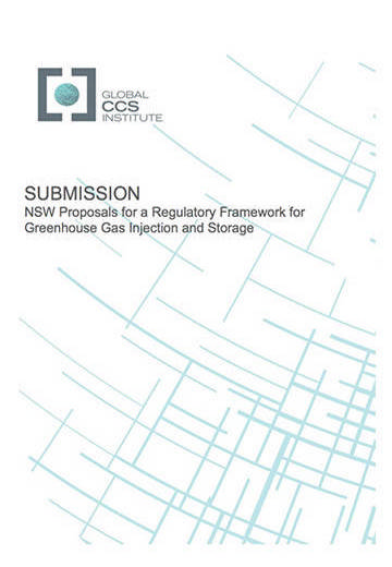 Submission: NSW proposals for a regulatory framework for greenhouse gas injection and storage
