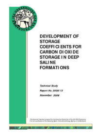 Development of storage coefficients for carbon dioxide storage in deep saline formations