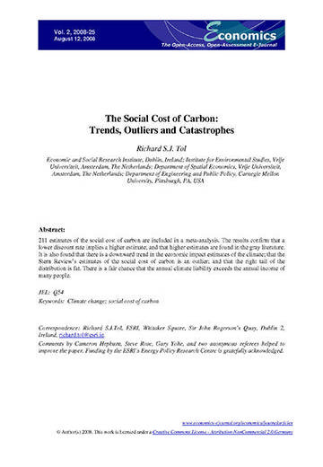 The social cost of carbon: trends, outliers and catastrophes