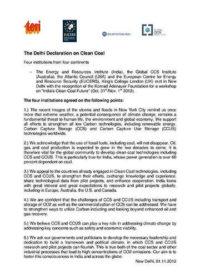 The Delhi declaration on clean coal
