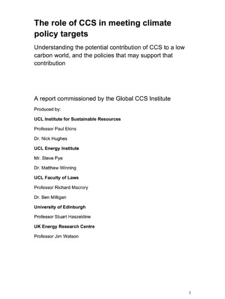 """Report led by researchers from University College London: """"The role of CCS in meeting climate policy targets"""""""