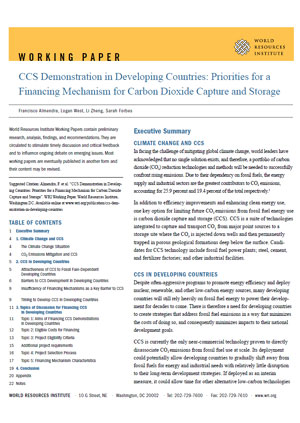 CCS demonstration in developing countries: priorities for a financing mechanism for carbon dioxide capture and storage