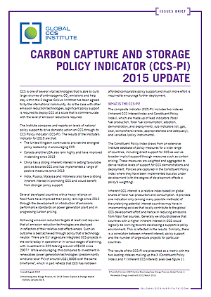 Carbon Capture and Storage Policy Indicator (CCS-PI): 2015 update