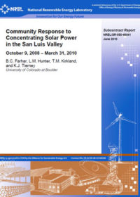 Community response to concentrating solar power in the San Luis Valley