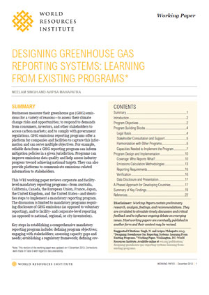 Designing greenhouse gas reporting systems: learning from existing programs