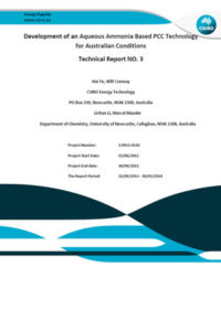 Development of an aqueous ammonia based PCC technology for Australian conditions: technical report no. 3