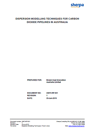 Dispersion modelling techniques for carbon dioxide pipelines in Australia