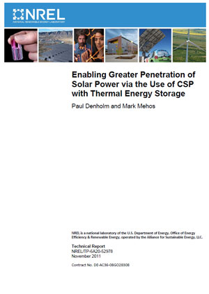 Enabling greater penetration of solar power via the use of CSP with thermal energy storage