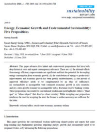 Energy, economic growth and environmental sustainability: five propositions