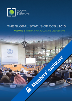The global status of CCS: 2015. Volume 1: international climate discussions