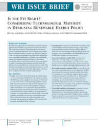 Is the fit right? Considering technological maturity in designing renewable energy policy