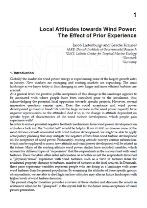 Local attitudes towards wind power: the effect of prior experience