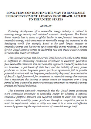 Long-term contracting the way to renewable energy investment: lessons from Brazil applied to the United States