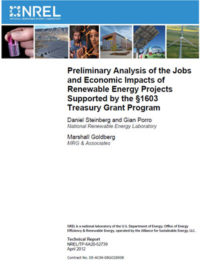 Preliminary analysis of the jobs and economic impacts of renewable energy projects supported by the §1603 Treasury Grant Program