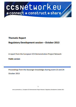 Thematic report. Regulatory development session: October 2013