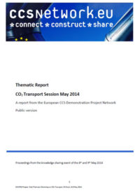 Thematic report: CO2 transport session May 2014