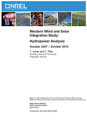 Western Wind and Solar Integration Study: hydropower analysis. October 2007–October 2010
