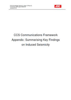 CCS communications framework appendix: Summarising key findings on induced seismicity