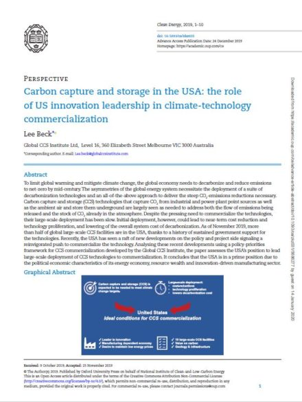 Carbon capture and storage in the USA: the role of US innovation leadership in climate-technology commercialization