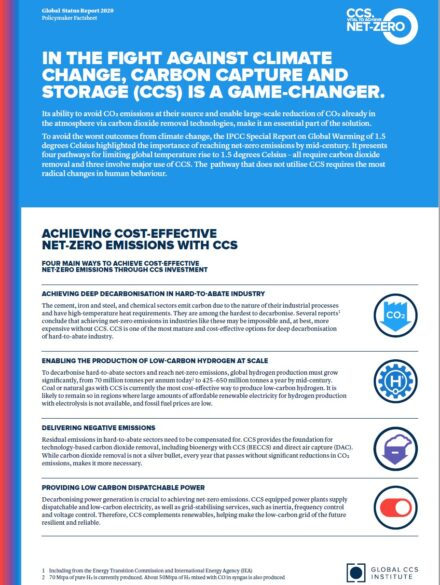 Policy Factsheet – Global Status of CCS