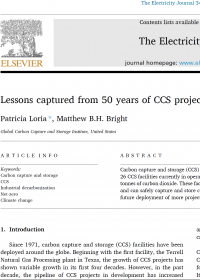 Lessons captured from 50 years of CCS projects