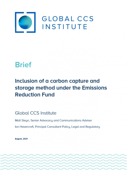 Inclusion of a CCS Method Under the Emissions Reduction Fund